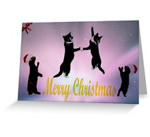 Christmas Cat Dance Greeting Card