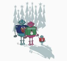 Robot Family Christmas by GinCherry