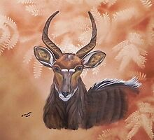 Nyala Antelope. By Jane Flowers by janeflowersart
