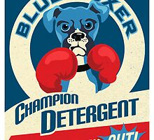 Blue Boxer Dog Champion Detergent Retro Poster- original art by DKMurphy