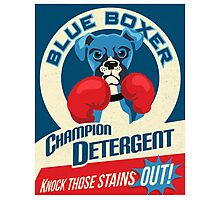 Blue Boxer Dog Champion Detergent Retro Poster- original art Photographic Print