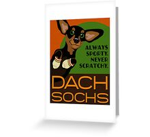 Happy Dachshund in Socks Retro poster design- original art Greeting Card