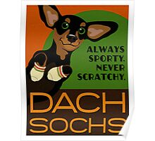 Happy Dachshund in Socks Retro poster design- original art Poster