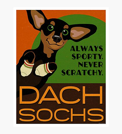 Happy Dachshund in Socks Retro poster design- original art Photographic Print