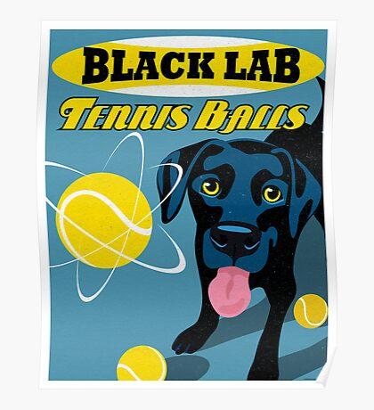 Labrador Retriever with Tennis Balls Retro Poster- original art Poster
