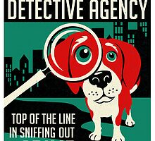 Red Beagle Detective Agency Retro Poster- original art by DKMurphy