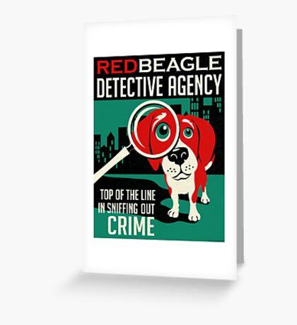 Red Beagle Detective Agency Retro Poster- original art Greeting Card