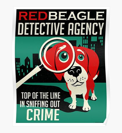 Red Beagle Detective Agency Retro Poster- original art Poster