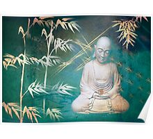 Monk with bamboo Poster