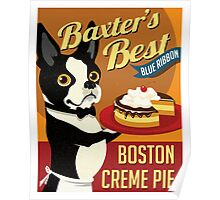 Boston Terrier Dog Baker retro poster design- original art  Poster