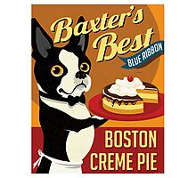 Boston Terrier Dog Baker retro poster design- original art  Photographic Print