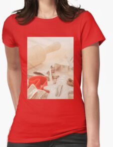 Vintage Tin Cookie Cutters Christmas Card Womens Fitted T-Shirt