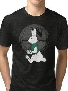 Bun + Hot Cocoa + Sweater = Yes Tri-blend T-Shirt