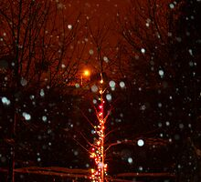 Snow And Lights Aglow by Wrayzo