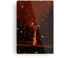 Snow And Lights Aglow Metal Print
