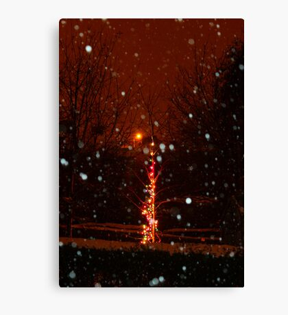 Snow And Lights Aglow Canvas Print