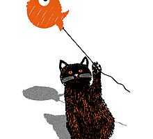 cat with goldfish balloon by MooieVogel