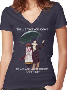 Shall I take you away? - Nagisa (Clannad) Women's Fitted V-Neck T-Shirt