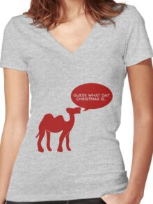 Guess What Day Christmas Is? Hump Day T-Shirt Women's Fitted V-Neck T-Shirt