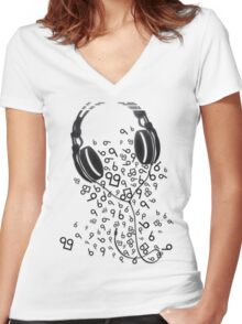 Headphones Women's Fitted V-Neck T-Shirt