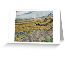 Vincent Van Gogh  - Enclosed Field with Ploughman, 1889 Greeting Card
