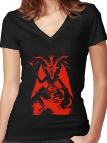 Red Baphomet Women's Fitted V-Neck T-Shirt