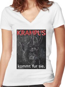 Krampus kommt fur sie. Women's Fitted V-Neck T-Shirt