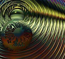 Hieroglyphic Sphere on Golden Waves by barrowda