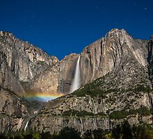 Yosemite Falls Moonbow Wide View by marccrumpler
