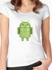 Green android robot Women's Fitted Scoop T-Shirt