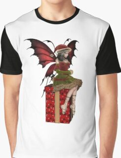Christmas Fairy Elf Girl Sitting on a Present Graphic T-Shirt