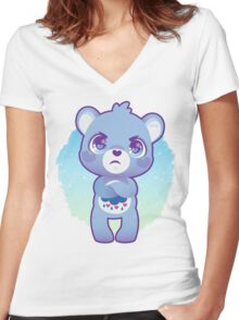 Grumpy bear Women's Fitted V-Neck T-Shirt