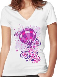 Hot_Air_Balloon_Trip Women's Fitted V-Neck T-Shirt