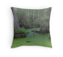 Misty Green Swamp Throw Pillow