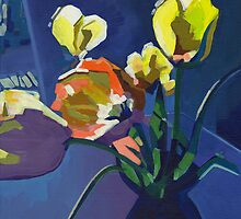 Yellow Tulips on Purple Background by ArtspaceTF