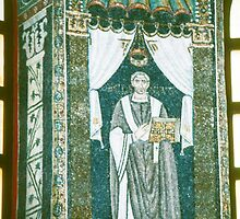 Important person with probable book Mosaic san Apollinare in Classe Italy 198404150007  by Fred Mitchell