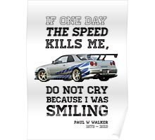 Paul Walker Tribute GTR - Halftone Poster