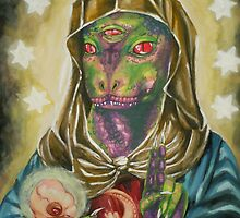 Blessed Reptilian Virgin and Child by Ashley Peppenger