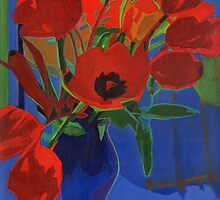 Red Tulips on Blue Background by ArtspaceTF