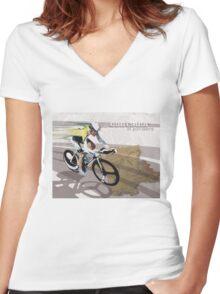 retro cycling poster Contador El Pistolero Women's Fitted V-Neck T-Shirt