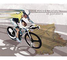 retro cycling poster Contador El Pistolero Photographic Print