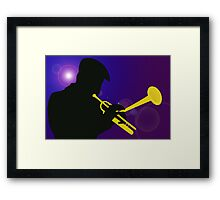 Silhouette of a Trumpet Player on a Blue / Purple Background Framed Print