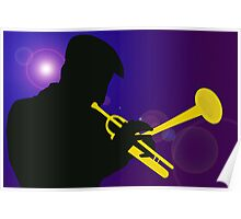 Silhouette of a Trumpet Player on a Blue / Purple Background Poster