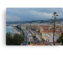 Promenade des Anglais and Cours Saleya from Above - Nice, France, French Riviera Canvas Print