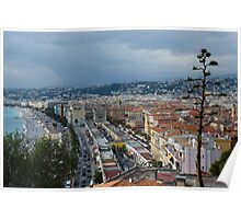 Promenade des Anglais and Cours Saleya from Above - Nice, France, French Riviera Poster