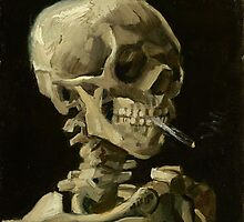 Vincent Van Gogh  - Head of a skeleton with a burning cigarette, 1886.  by famousartworks
