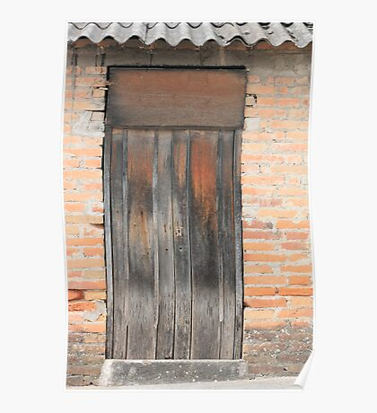 Weathered Brown Door in Adobe Bricks Poster