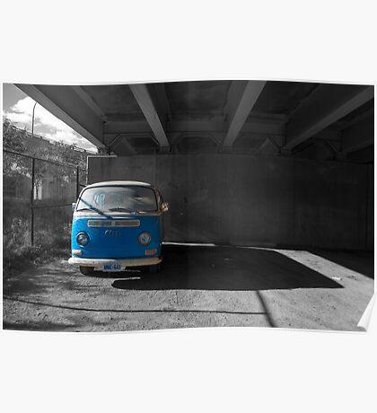 Blue Van Under The Ramp Poster