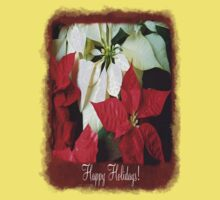 Mixed Color Poinsettias 2 Happy Holidays P5F1 One Piece - Short Sleeve