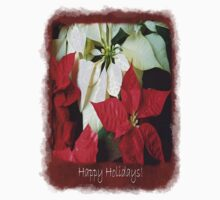Mixed Color Poinsettias 2 Happy Holidays P5F5 One Piece - Short Sleeve